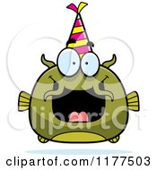 Cartoon Of A Happy Birthday Catfish Wearing A Party Hat Royalty Free Vector Clipart by Cory Thoman