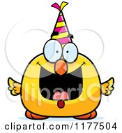 Cartoon Of A Happy Birthday Chick Wearing A Party Hat Royalty Free Vector Clipart