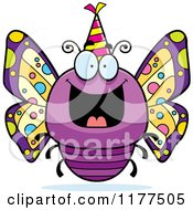 Cartoon Of A Happy Birthday Butterfly Wearing A Party Hat Royalty Free Vector Clipart