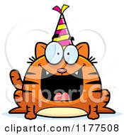 Cartoon Of A Happy Birthday Cat Wearing A Party Hat Royalty Free Vector Clipart