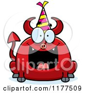 Cartoon Of A Happy Birthday Devil Wearing A Party Hat Royalty Free Vector Clipart