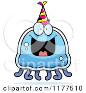 Cartoon Of A Happy Birthday Jellyfish Wearing A Party Hat Royalty Free Vector Clipart by Cory Thoman