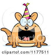Cartoon Of A Happy Birthday Kangaroo Wearing A Party Hat Royalty Free Vector Clipart by Cory Thoman