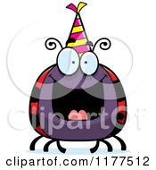 Cartoon Of A Happy Birthday Ladybug Wearing A Party Hat Royalty Free Vector Clipart