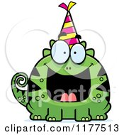 Cartoon Of A Happy Birthday Lizard Wearing A Party Hat Royalty Free Vector Clipart by Cory Thoman