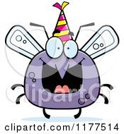 Cartoon Of A Happy Birthday Mosquito Wearing A Party Hat Royalty Free Vector Clipart