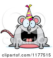 Cartoon Of A Happy Birthday Mouse Wearing A Party Hat Royalty Free Vector Clipart
