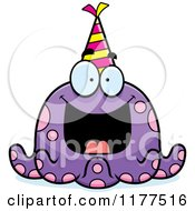 Cartoon Of A Happy Birthday Octopus Wearing A Party Hat Royalty Free Vector Clipart by Cory Thoman