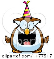 Cartoon Of A Happy Birthday Owl Wearing A Party Hat Royalty Free Vector Clipart by Cory Thoman