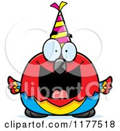 Cartoon Of A Happy Birthday Parrot Wearing A Party Hat Royalty Free Vector Clipart