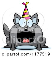 Cartoon Of A Happy Birthday Wolf Wearing A Party Hat Royalty Free Vector Clipart