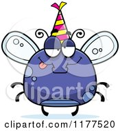 Cartoon Of A Drunk Birthday Fly Wearing A Party Hat Royalty Free Vector Clipart