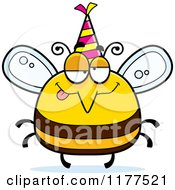 Cartoon Of A Drunk Birthday Bee Wearing A Party Hat Royalty Free Vector Clipart