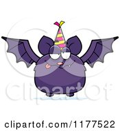 Cartoon Of A Drunk Birthday Bat Wearing A Party Hat Royalty Free Vector Clipart by Cory Thoman