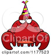 Cartoon Of A Drunk Birthday Crab Wearing A Party Hat Royalty Free Vector Clipart by Cory Thoman