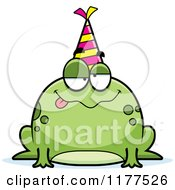 Cartoon Of A Drunk Birthday Frog Wearing A Party Hat Royalty Free Vector Clipart by Cory Thoman