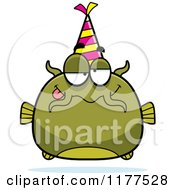 Cartoon Of A Drunk Birthday Catfish Wearing A Party Hat Royalty Free Vector Clipart by Cory Thoman