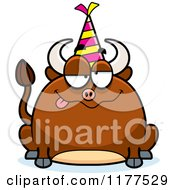 Cartoon Of A Drunk Birthday Bull Wearing A Party Hat Royalty Free Vector Clipart