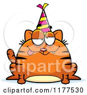 Cartoon Of A Drunk Birthday Cat Wearing A Party Hat Royalty Free Vector Clipart