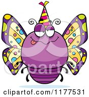 Cartoon Of A Drunk Birthday Butterfly Wearing A Party Hat Royalty Free Vector Clipart