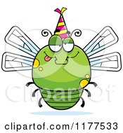 Cartoon Of A Drunk Birthday Dragonfly Wearing A Party Hat Royalty Free Vector Clipart