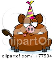 Cartoon Of A Drunk Birthday Boar Wearing A Party Hat Royalty Free Vector Clipart