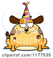 Cartoon Of A Drunk Birthday Dog Wearing A Party Hat Royalty Free Vector Clipart