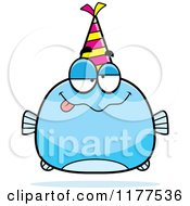 Cartoon Of A Drunk Birthday Fish Wearing A Party Hat Royalty Free Vector Clipart