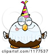 Cartoon Of A Drunk Birthday Bald Eagle Wearing A Party Hat Royalty Free Vector Clipart