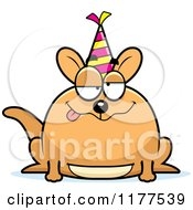 Cartoon Of A Drunk Birthday Kangaroo Wearing A Party Hat Royalty Free Vector Clipart by Cory Thoman
