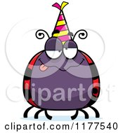 Cartoon Of A Drunk Birthday Ladybug Wearing A Party Hat Royalty Free Vector Clipart