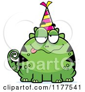 Cartoon Of A Drunk Birthday Lizard Wearing A Party Hat Royalty Free Vector Clipart by Cory Thoman