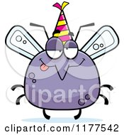 Cartoon Of A Drunk Birthday Mosquito Wearing A Party Hat Royalty Free Vector Clipart