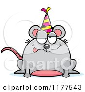Cartoon Of A Drunk Birthday Mouse Wearing A Party Hat Royalty Free Vector Clipart