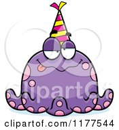 Cartoon Of A Drunk Birthday Octopus Wearing A Party Hat Royalty Free Vector Clipart by Cory Thoman