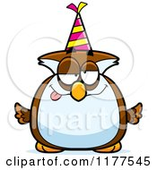 Cartoon Of A Drunk Birthday Owl Wearing A Party Hat Royalty Free Vector Clipart by Cory Thoman