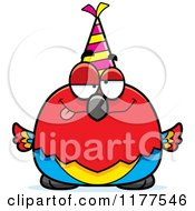 Cartoon Of A Drunk Birthday Parrot Wearing A Party Hat Royalty Free Vector Clipart