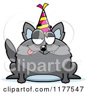 Cartoon Of A Drunk Birthday Wolf Wearing A Party Hat Royalty Free Vector Clipart