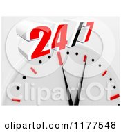 Clipart Of A 3d Wall Clock With 24 7 Royalty Free CGI Illustration