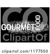 Clipart Of A White Gourmet Food Word Collage On Black Royalty Free CGI Illustration