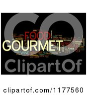 Clipart Of A Colorful Gourmet Food Word Collage On Black Royalty Free CGI Illustration