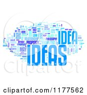 Clipart Of A Blue Ideas Word Collage On White Royalty Free CGI Illustration
