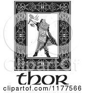 Clipart Of The Norse God Thor With A Hammer In A Celtic Frame Over Text Black And White Woodcut Royalty Free Vector Illustration by xunantunich