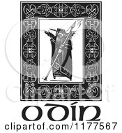 The Norse God Odin With Crows And A Spear In A Celtic Frame Over Text Black And White Woodcut