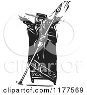 The Norse God Odin With Crows And A Spear Black And White Woodcut