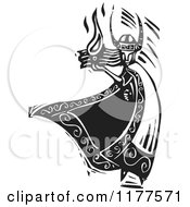 Clipart Of The Norse God Loki With Fire Black And White Woodcut Royalty Free Vector Illustration by xunantunich