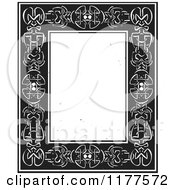 Clipart Of A Celtic Knot Border With Copyspace Black And White Woodcut Royalty Free Vector Illustration