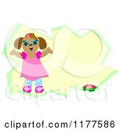 Cartoon Of A Girl Dog Over A Funky Frame Royalty Free Vector Clipart by bpearth