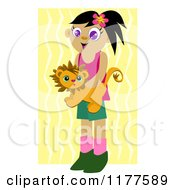 Happy Girl Holding A Lion Toy Over Zig Zags