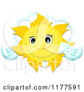 Cartoon Of A Winged Sun Over A Cloud Royalty Free Vector Clipart by bpearth